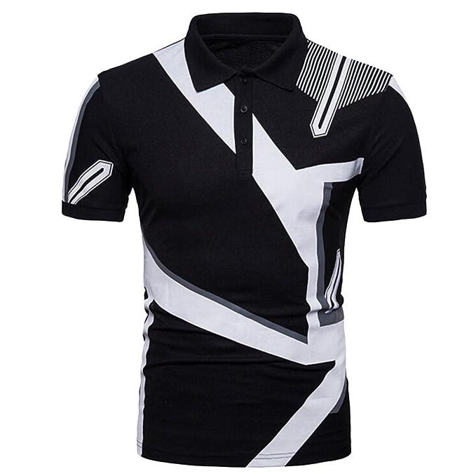 b665ec68520a Poloshirt Herren T Shirt Top Sommer Kurzarm Print Polohemd Slim Fit Polo  Shirt Splice T-Shirt Hemden Freizeithemd Zhen+ Klassisches Männer Sport  Casual ...
