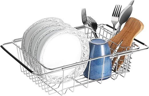 Escurridor cubiertos de acero inoxidable 304 Soporte para utensilios de cocina Organizador de utensilios con 2 compartimentos