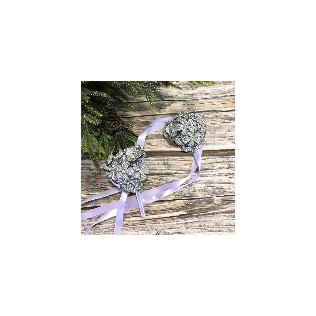 Abbie Home Handmade Full Rhinestone Covered Boutonniere Brooch Crystal Suit Pin Wedding Prom Ball Roses Silk Flower (Lavender Boutonniere)