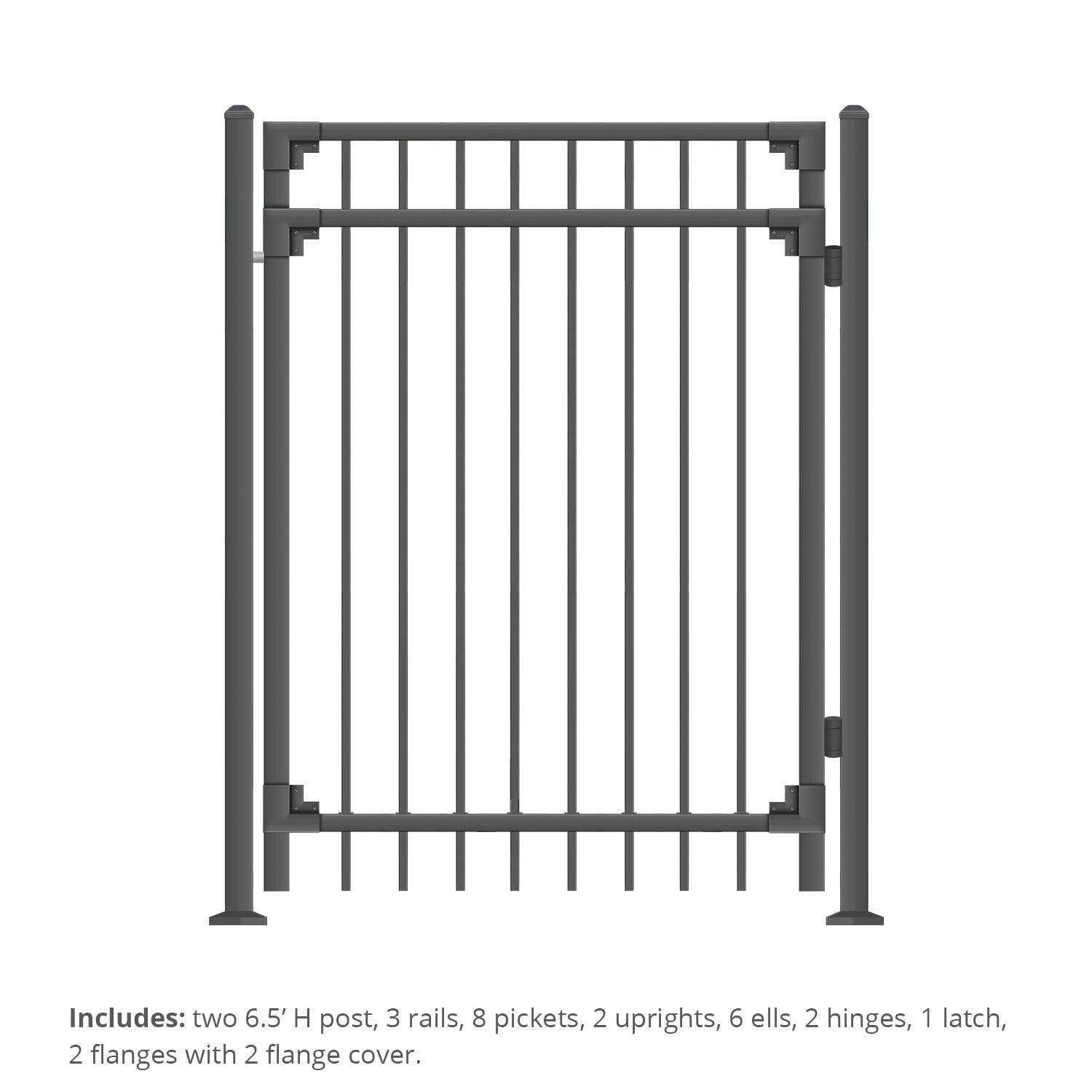 XCEL - Black Steel Fence Gate Cortina Style Flat End Pickets - 4ft W x 5ft H - DIY Installation Kit, for Outdoor, Yard, Patio, Entry Way, on Soil or Concrete, 3-Rail Mental Gate by XCEL