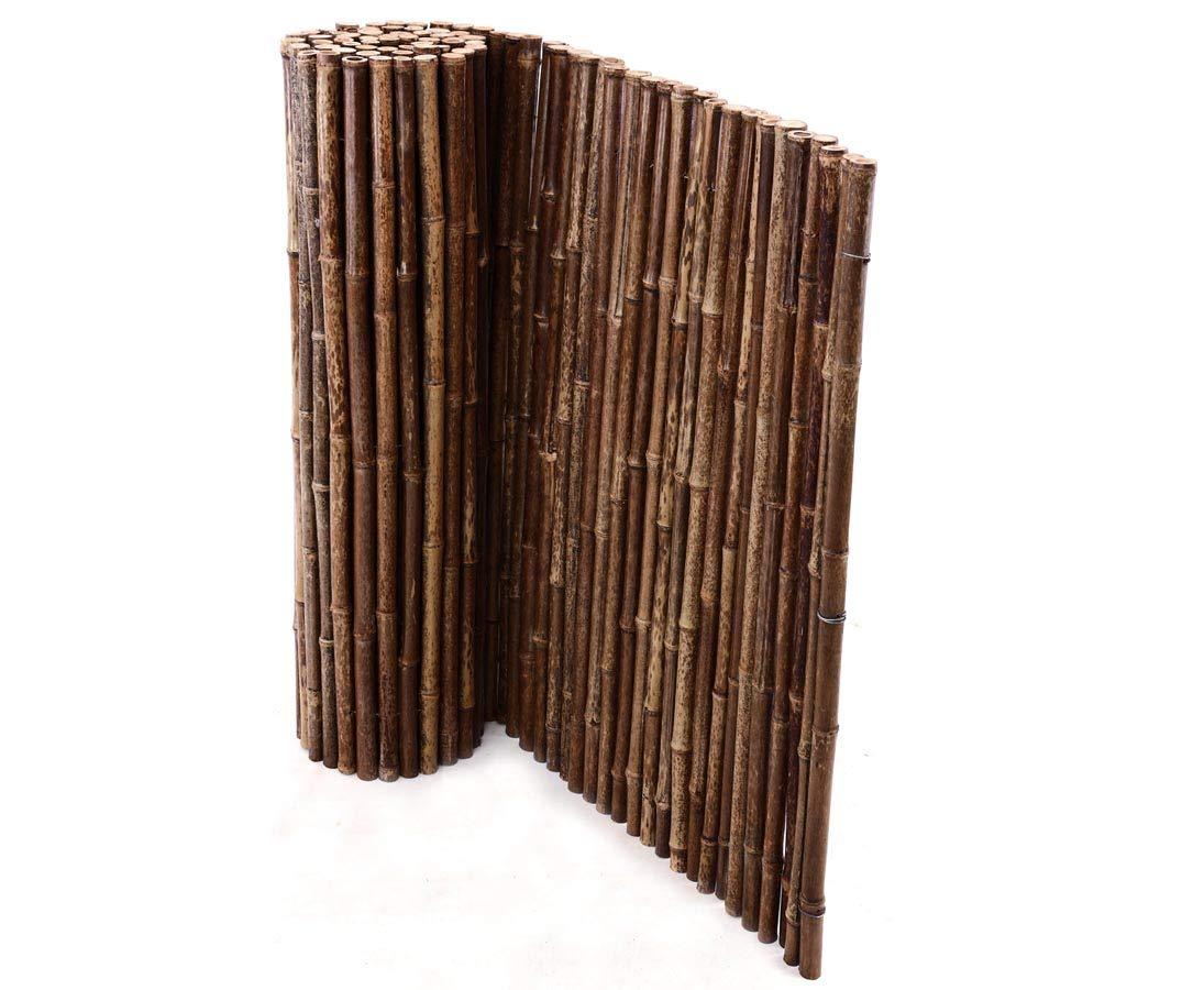 Bambusmatte schwarz, sehr stabile Ausführung, 150x250cm, Bambusrohrdurchmesser ca.24mm - Sichtschutzmatte Bambus Matten sehr stabile Ausführung bambus-discount.com