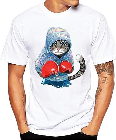 LMMVP Camisas Basicas Hombres Camiseta Impresión Camisetas Short Sleeve Blouse Mangas Cortas Estampado Tops Camisa de Verano: Amazon.es: Ropa y accesorios