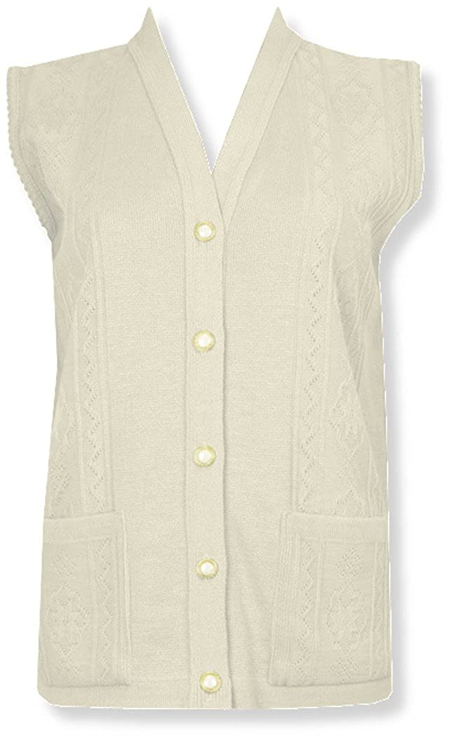 Womens Merry Gold Sleeveless Knitted Cardigans Waistcoat V Neck Button Cardigan Ribbed (Cream, X-Large)
