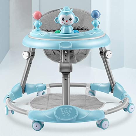 2 in 1 First Steps Walker for Toddlers with Feeding and Play Tray Height Adjustable and Foldable Wheeled Walker with Music and Light 6-12 Months Baby Walker for Boys and Girls