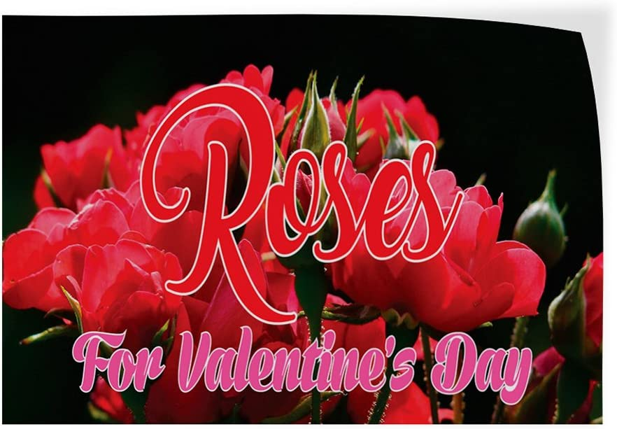 Set of 2 54inx36in Decal Sticker Multiple Sizes Rose for Valentines Day Business Roses Outdoor Store Sign Red