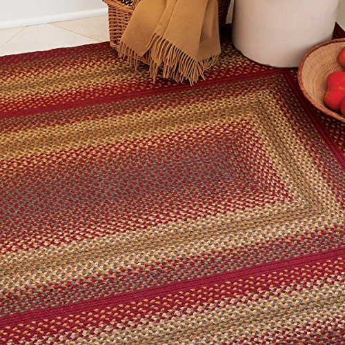 Rug Braided Barn Red (Cider Barn Premium Braided Jute Rug by Homespice, 4' x 6' Rectangle Red Color, Reversible Imported Jute Yarn, Higher Quality, Longer Lasting, Longer Wear - 30 Day Risk Free Purchase)