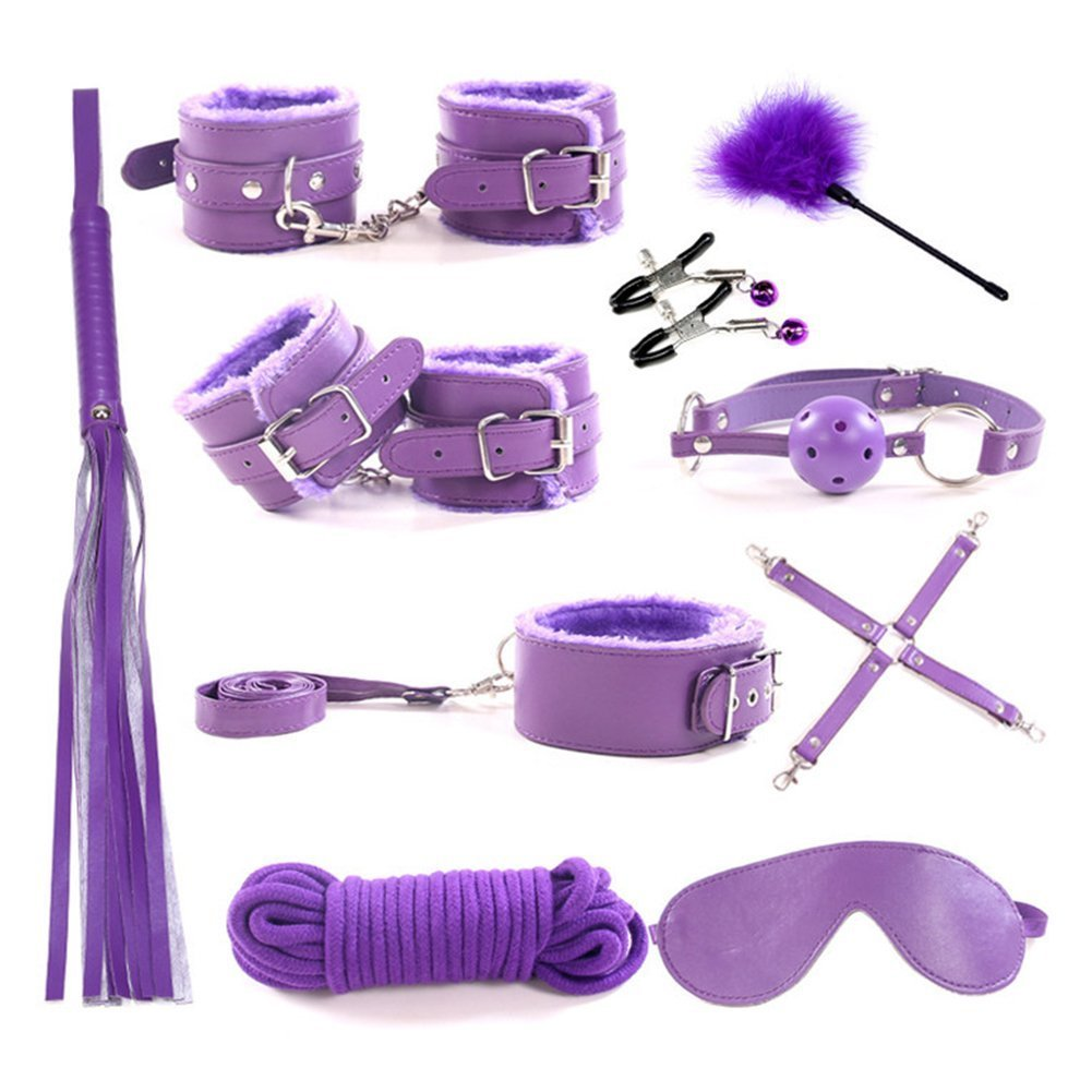 10-Piece Leather Suit mask Collar (Purple) Sex Goods Leather Straps Handcuffs Binding Sleeve