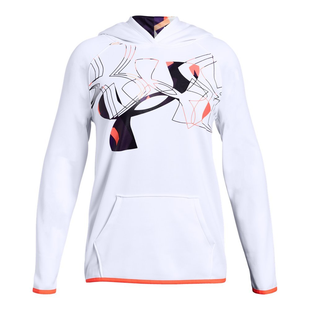 Under Armour Girls Armour Fleece Print Fill Logo Hoodie , White (100)/After Burn, Youth X-Small