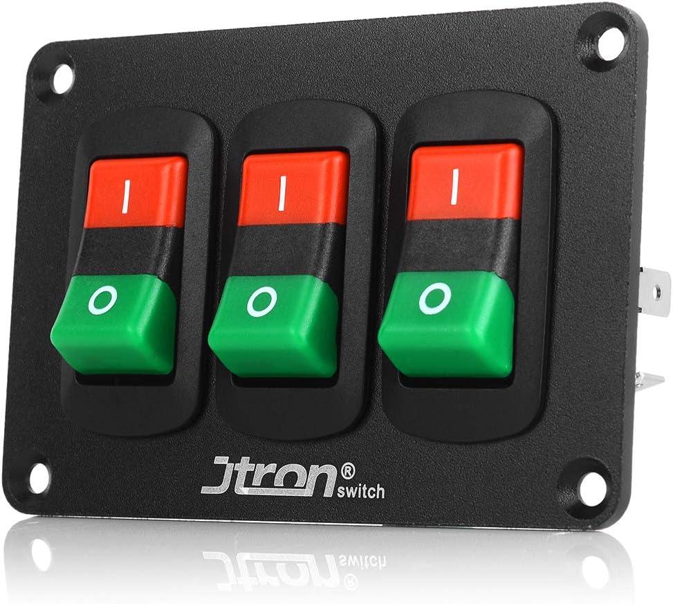 Jtron DC12V 21A/24V Interruptores basculantes on-off Interruptor de luz del automóvil Panel de interruptores 3 interruptor basculante con cable para embarcación automática para embarcación RV