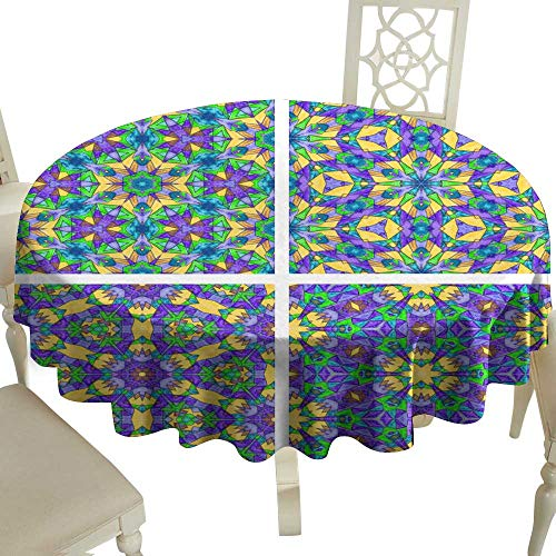WinfreyDecor Oil-Proof and Leak-Proof Tablecloth Set of Abstract Mosaic Colorful Seamless Wallpaper Texture backg Indoor Outdoor Camping Picnic D43