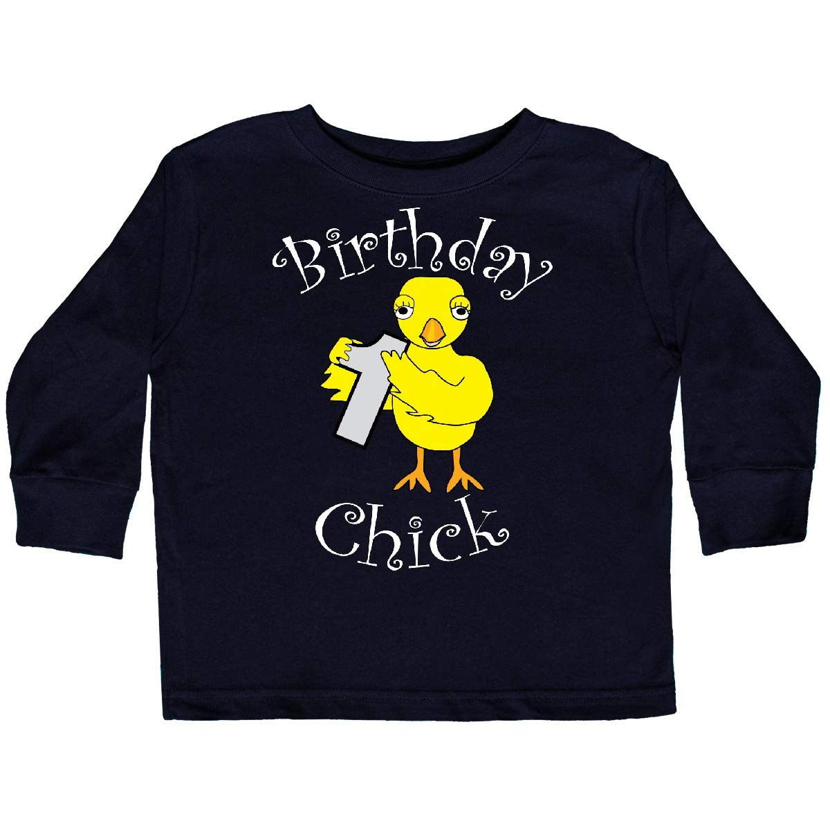 inktastic Birthday Chick Number 1 White Text Toddler Long Sleeve T-Shirt