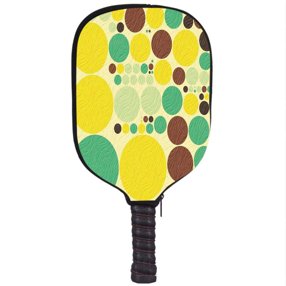 Neoprene Premium Pickleball Paddle Racket Cover Case,Polka Dots,Various Sized Vivid Polka Dots in Hippie Style Groovy Pattern Past Times Theme,Multicolor ...
