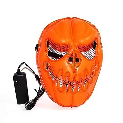 Calabaza de Halloween EL Wire Mask Cosplay intermitente Máscara de LED Máscara anónima para adultos Brillante