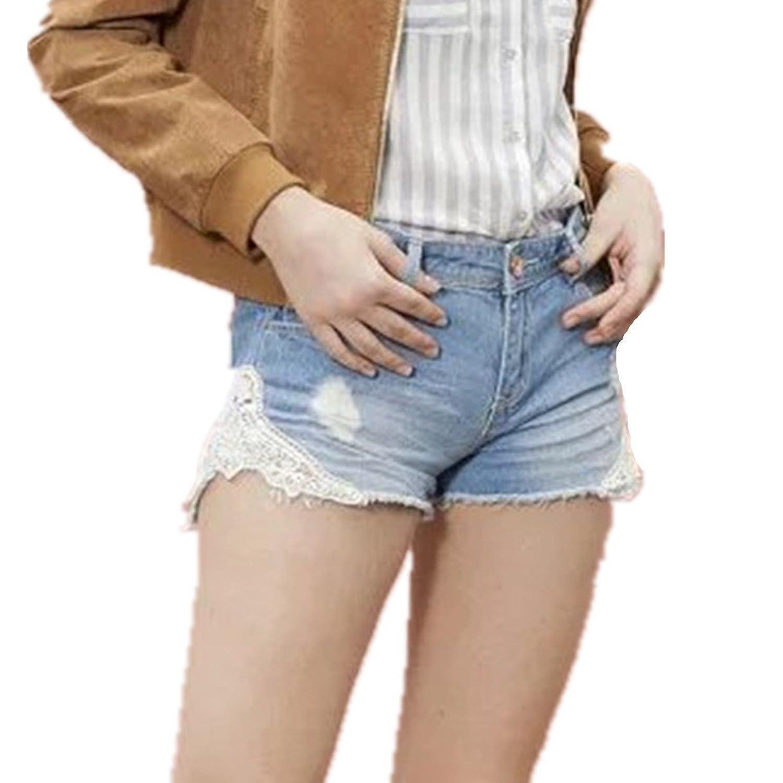 LOBTY Sexy Frauen Denim Jeans Shorts kurze Mini heißen Hosen Bermuda jeans shorts Hotpants Hose Damen Kurz Jeans Light Blau Spitze Jean Shorts