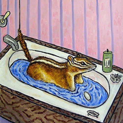 least chipmunk bath bather bathroom decor animal art tile coaster gift