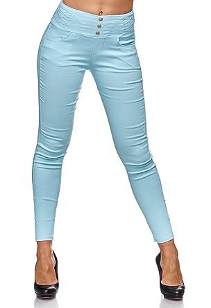 Damen High Waist Jeans Hose Jeggings Stretch Skinny Röhre Treggings Hoher Bund