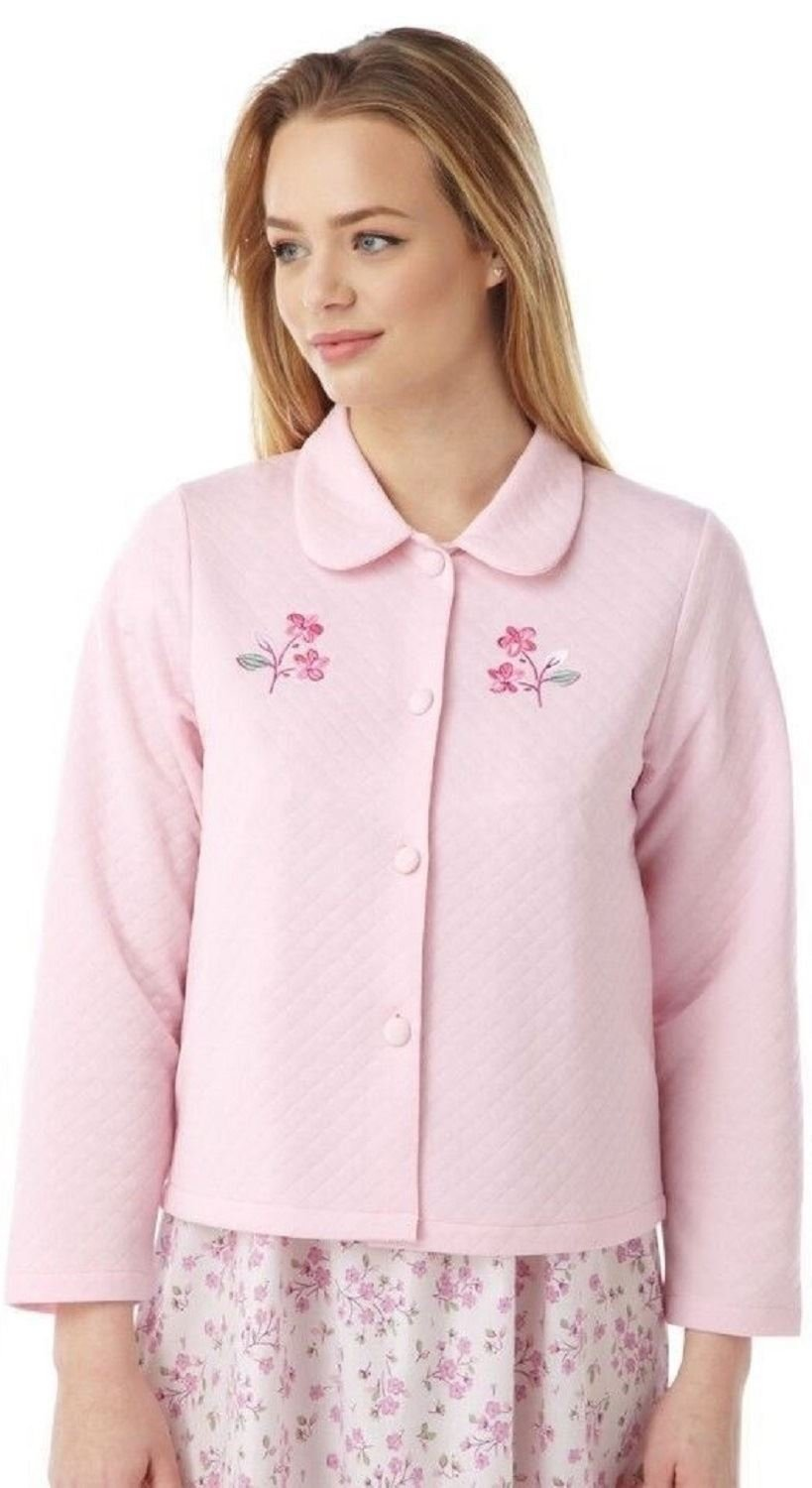 Marlon Ladies Lightweight Quilted Button Bed Jacket with Embroidery by MA08772 Pink 10-12