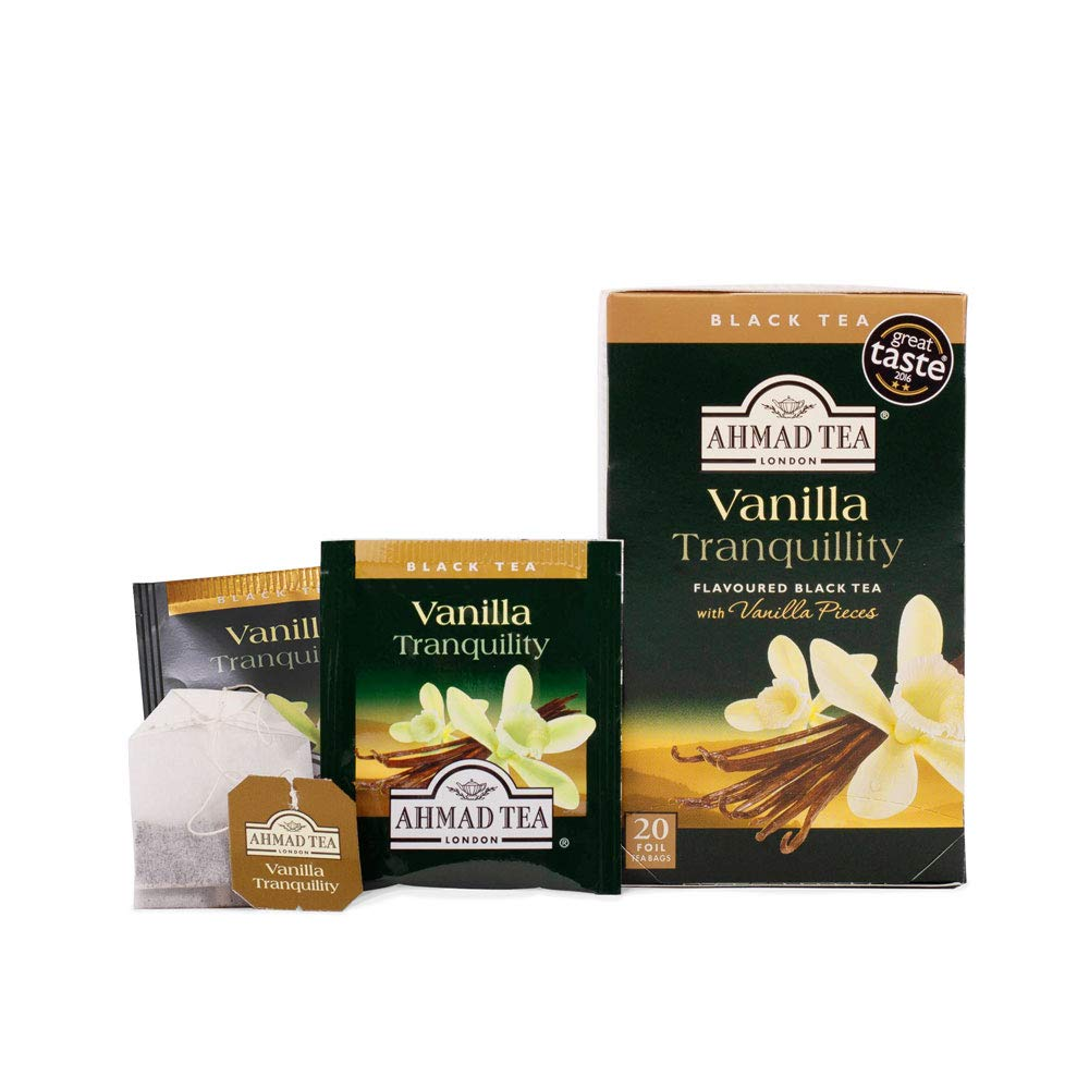 Ahmad Tea Vanilla Tranquility Black Tea, 20-Count Boxes (Pack of 6)
