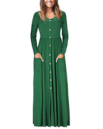 b94dcb57086 VOTEPRETTY Women s V-Neck Long Sleeve Casual Loose Button Maxi Long Dress  with Pockets(