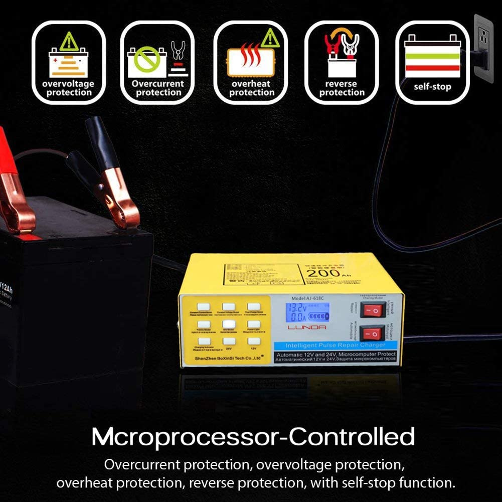 yellow Full Automatic Car Battery Charger 12V//24V Electric Battery Charger Intelligent Pulse Repair Type 200AH for Motorcycle