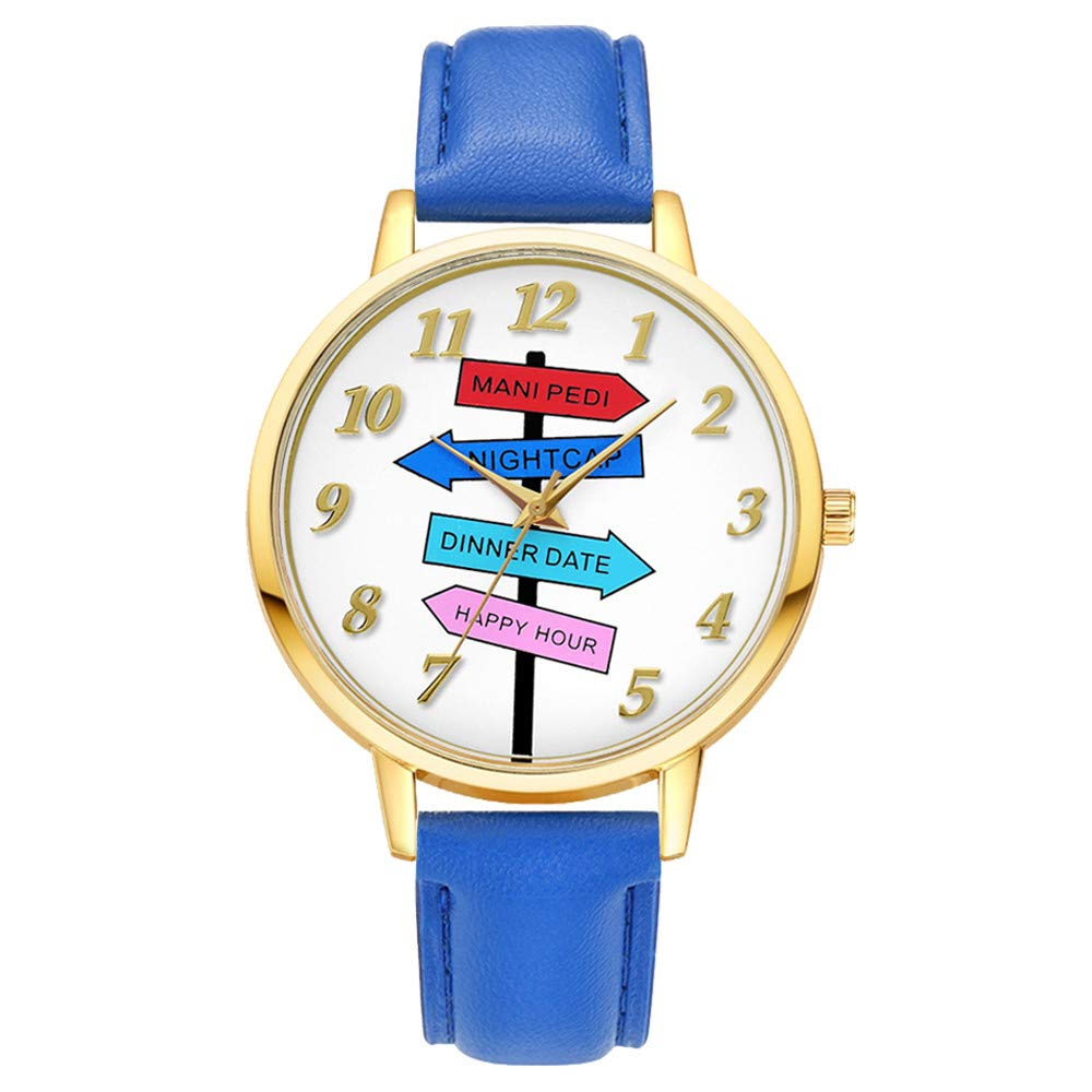 Tantisy ♣↭♣ Women's Watches ☘ Easy Round Leather Band Analog Quartz Leather Strap Fashion Watch Resin Strap Watch Blue
