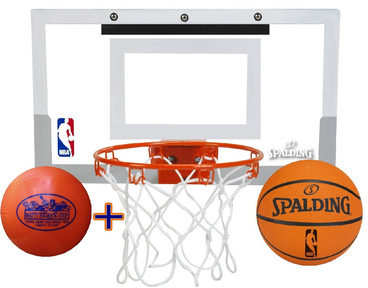 Spalding NBA Slam Jam Mini Basketball Hoop Deluxe Set with Exclusive ''Matty's Toy Stop'' 4'' Vinyl Basketball by Spalding