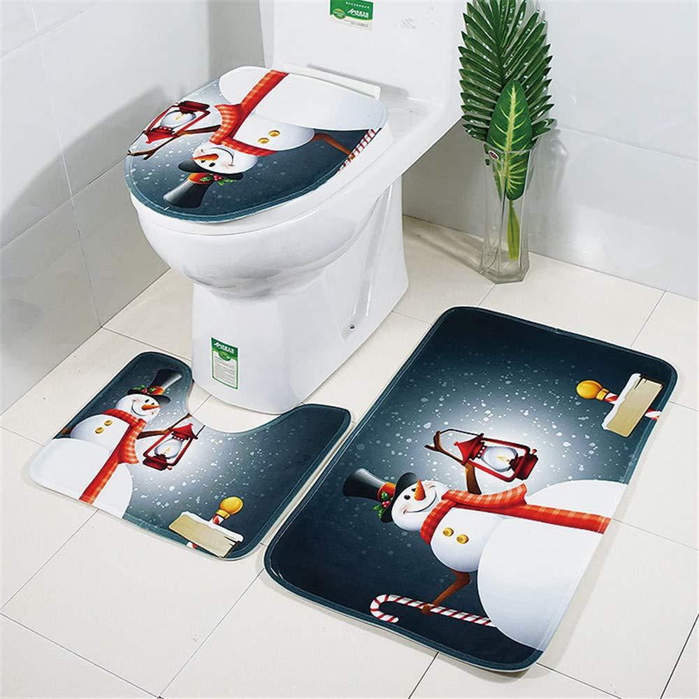 Iusun Christmas Toilet Pad, 3PCS Christmas Suction Grip Bath Mat Rugs Floor Rug Pad for Bathroom Kitchen Doormats Decor (A) Iusun Home Accessories 16818049932A
