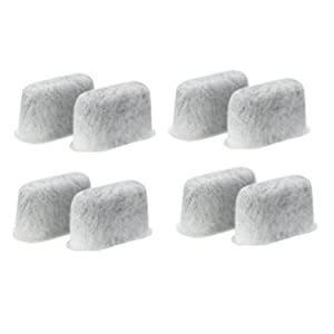 LSQtronics 8 pcs Generic Replacement Activated Carbon Filter package of white Charcoal water Filter for Cuisinart coffee machines.