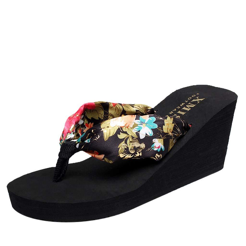 Women's Flip Flop Wedge Sandals Summer Sandal Chunky High Platform Shoes (US:6.5, Black)