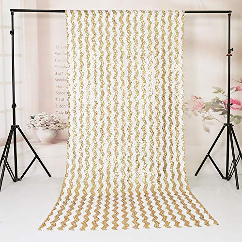 TRLYC 8Ftx8Ft Gold Chevron Sequin Photo Backdrop Glitter Ceremony Background For Wedding]()