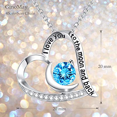 GinoMay April May Birthstone Necklace I Love You to the Moon and Back Jewelry Birthday Gifts Mothers Day Emerald Simulated Diamond Pearl Peridot Blue Sapphire Aquamarine Amethyst Blue Topaz Gemstone
