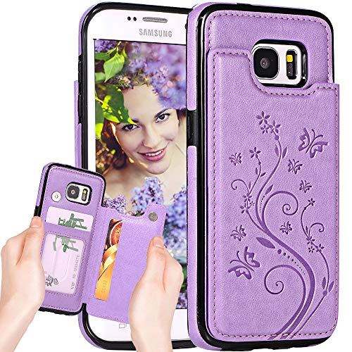 Galaxy S7 Wallet Case for Women,S7 Case with Card Holder,Auker Folding Kickstand Folio Flip Butterfly Embossed Leather Secure Fit Magnetic Slim Wallet Purse Case on Back with Money Pocket (Purple)