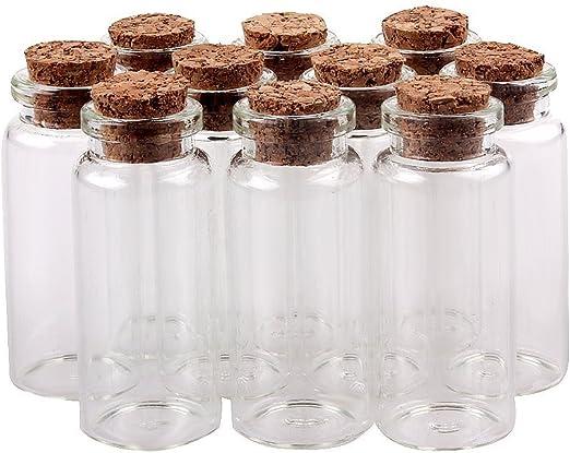 color marr/ón 50 unidades Danmu Art Botes de cristal con tapones de corcho 1 ml
