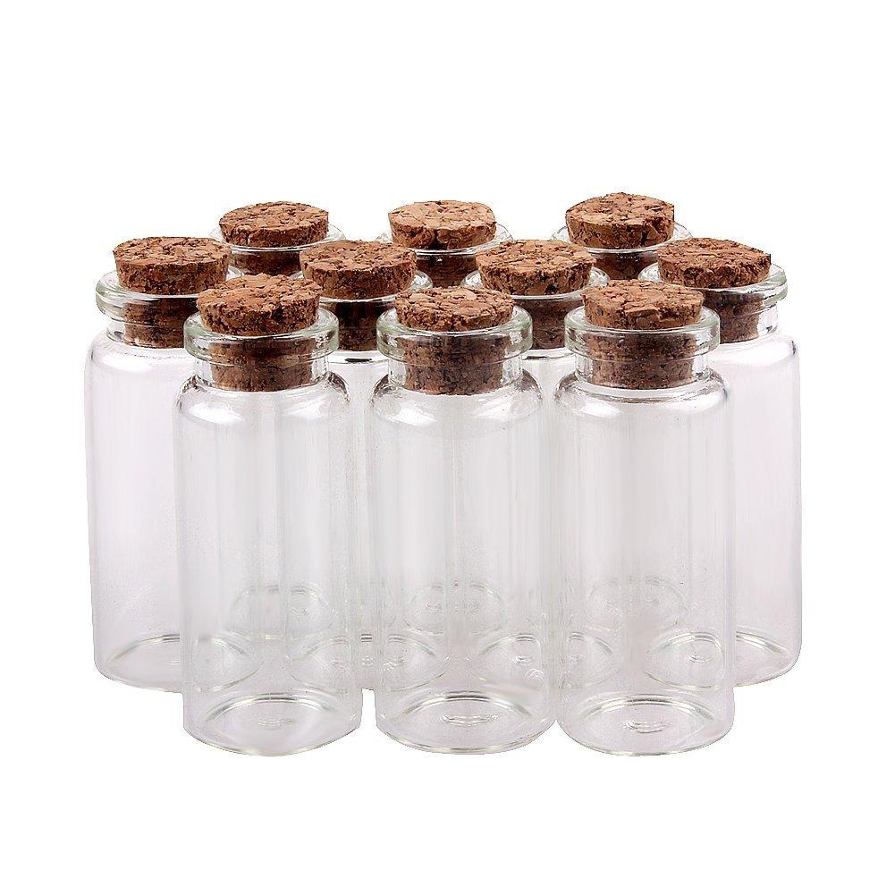 TININNA 10 pcs pequeño Mini tarros de Cristal Botellas frascos con Tapones de Corcho/Mensaje/Deseo de Fiesta de Bodas TININNA1071T(10)