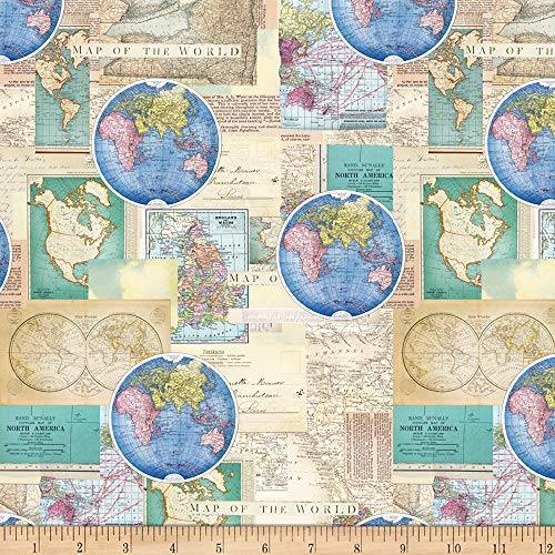 (David Textiles Vintage Cartography Multi Fabric Fabric by the Yard)