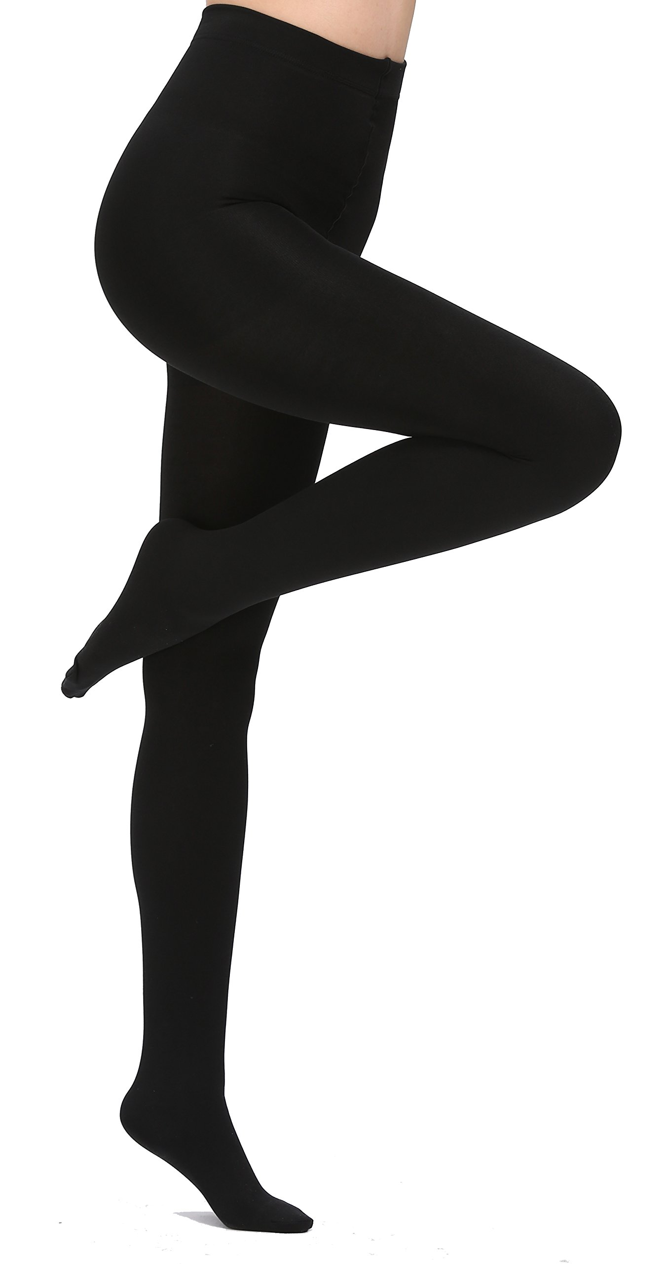 Aphro Women's Opaque Warm Tights Fleece Lining Pantyhose, Large - Black