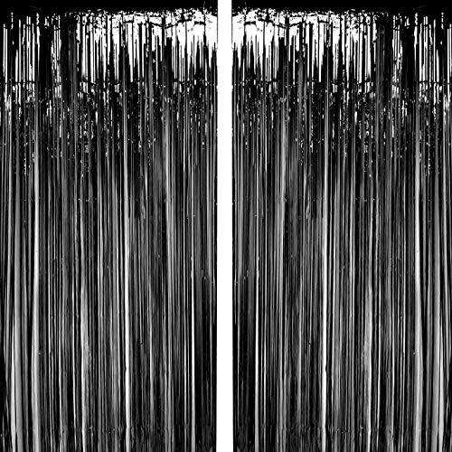 Black Foil Fringe Curtains Metallic Tinsel Foil Fringe Curtains Bachelorette Party Decor Halloween Happy New Year Photo Booth Props Backdrops Decorations -