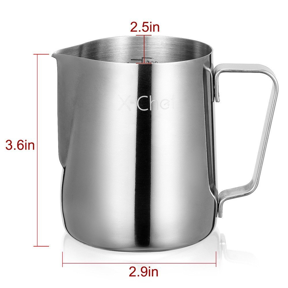 X-Chef Frothing Pitcher Stainless Steel Milk Pitcher 12 oz (350 ml) by X-Chef (Image #5)