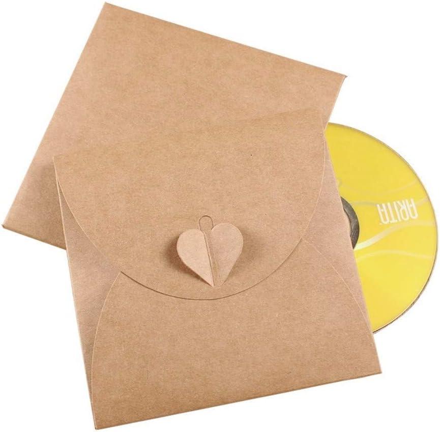 JZK 50 x Sobre tarjetas regalo papel kraft en blanco caja bolsa para cd, dvd, fotos instantáneas, favor de fiesta bolsas cajas para bodas cumpleaños navidad baby shower graduación