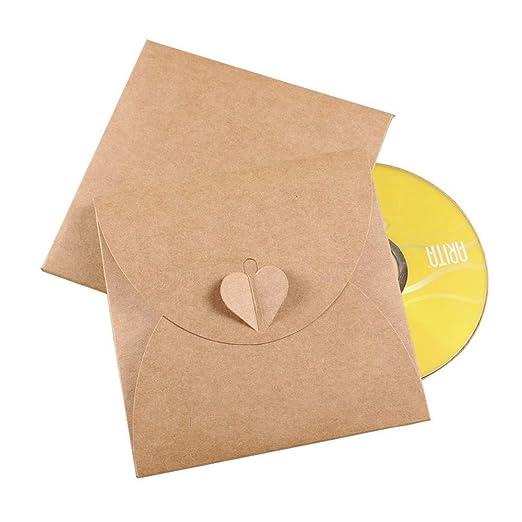 JZK 50 x Sobre tarjetas regalo papel kraft en blanco caja bolsa para cd, dvd, fotos instantáneas, favor de fiesta bolsas cajas para bodas cumpleaños ...