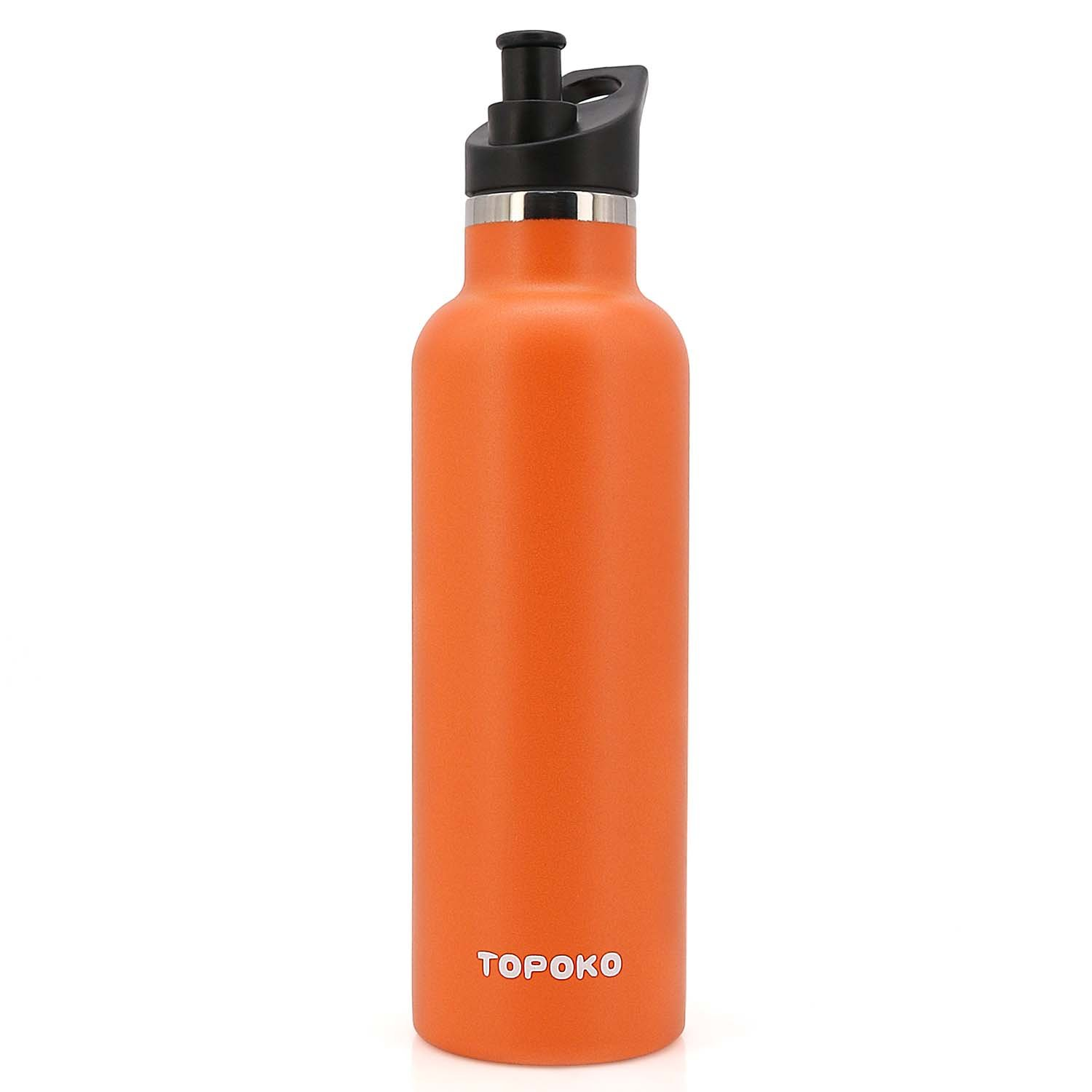 TOPOKO 25 OZ Double Wall Stainless Steel Water Bottle, Straw Lid with Handle or Bite Valve Top, Vacuum Insulated, Sweat Proof, Leak Proof Thermos Standard Mouth. (Orange)