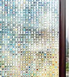 window treatments for bathrooms  3D Window Films Privacy Film Static Decorative Film Non-Adhesive Heat Control Anti UV 35.4In. by 78.7In. (90 x 200Cm)