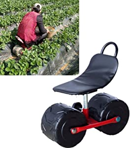 YMBLS Trolley Multifunction Portable Firm Iron Garden Cart,Tool Planting Picking Stool Comfortable Pu Sponge Seat Pad Moving Chair with Wheels Garden Supplies F/A/S