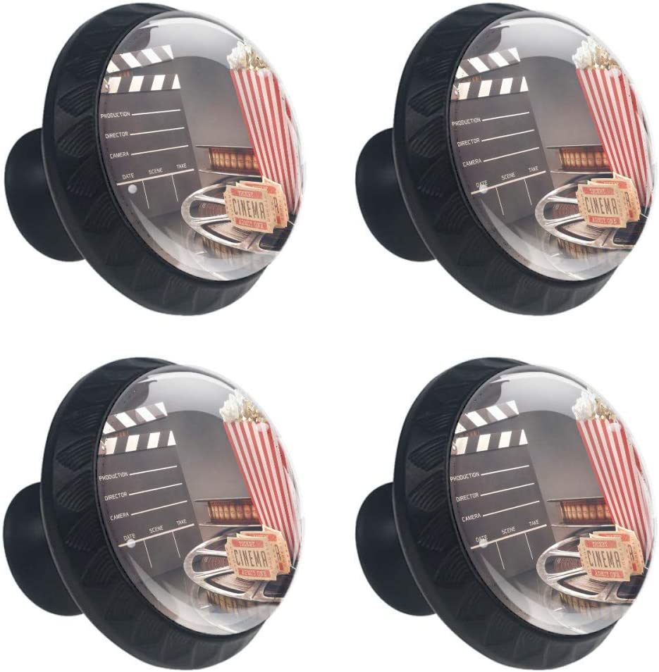 Anna Cowper Movie Theater Drawer Knob Pull Handle, Old Fashion Entertainment Objects Related to Cinema Film Reel Motion Picture 4 Pcs Cabinet Cupboard Knobs for Kitchen Home Office Cabinet Cupboard