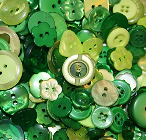 "Fancy & Decorative {Assorted Sizes w/ 1, 2, 4 Holes} 50 Pack of ""Flat & Shank"" Sewing & Craft Buttons Made of Acrylic Resin w/ Simple Classic Shiny St. Patrick's Day Design {Green} ()"