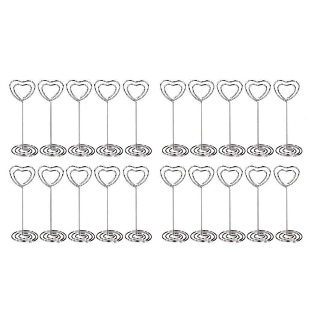 JZK 20 x Metal Heart Swirl Photo Memo Note Clip Holder Stand Wedding Name Place Card Holder for Wedding Or Other Occasions (Silver)