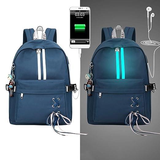 Museourstyty - Mochila reflectante para la escuela, con orificio para auriculares y cargador USB Dbl