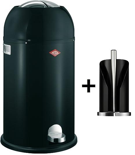 Wesco Kickmaster 33-Liter Abfallsammler & Küchenrollenhalter im Set, Farbe: schwarz