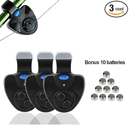 Coolnice 3 Pack Fishing Bite Alarm with Bonus 10 Pack Batteries, Best Seneitive Electronic Indicator LED Sound Alert On Fishing Rod with Loud Siren ...