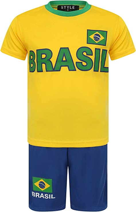 Boys Football Shorts Set T-Shirt Kit Summer Training Girls White Age 3-14 Years